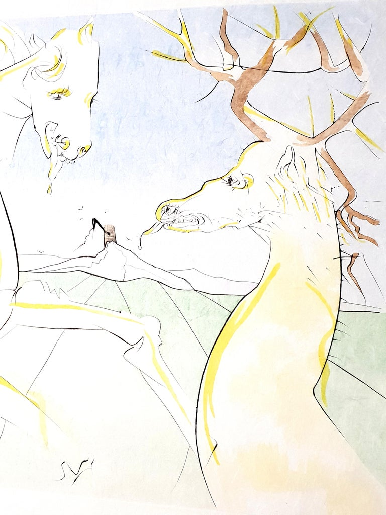 Salvador Dali - The Rider and the Deer - Signed Engraving - Beige Figurative Print by Salvador Dalí
