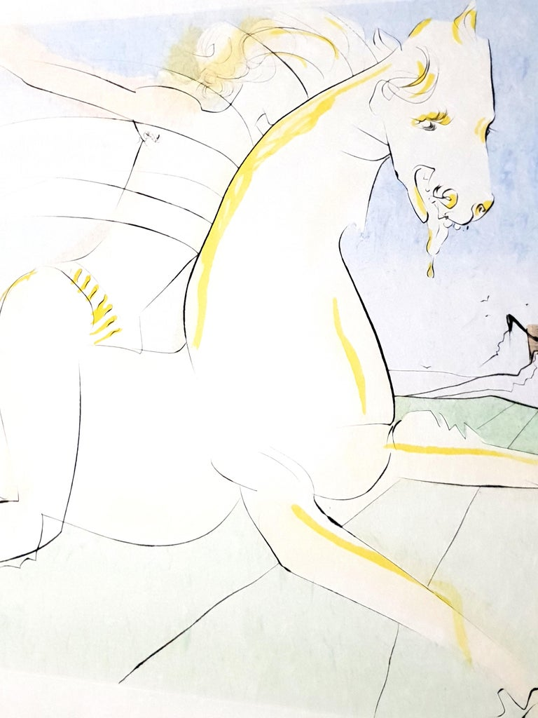 SALVADOR DALI  The Rider and the Deer  from Le Bestiaire de la Fontaine 1974 Hand signed by Dali Edition: XX/LXII  The dimensions of the image are 22.8 x 15.7 inches on 31 x 23.2 inch paper Reference: 74-1 F in