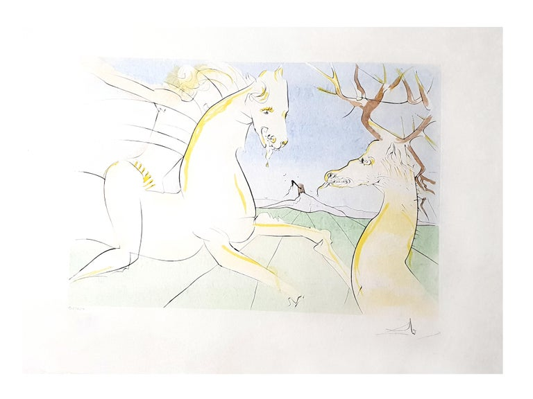 Salvador Dali - The Rider and the Deer - Signed Engraving For Sale 2