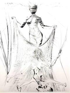 Salvador Dali - Woman Holding a Veil - Original Stamp-Signed Etching