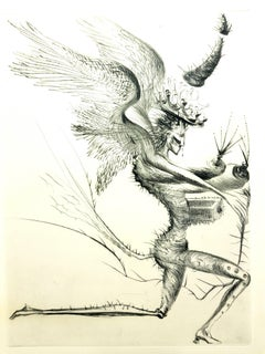 Salvador Dali - The Winged Demon - Original Stamp-Signed Etching