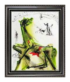 Salvador Dali Victim Of Festivities Glazed Ceramic Tile Signed Bullfight Artwork