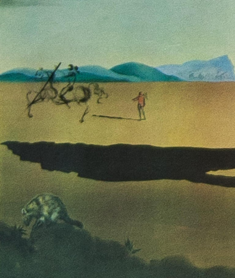 Savage Beasts in the Desert / Little Animal Kingdom color lithograph by Salvador - Gray Landscape Print by Salvador Dalí