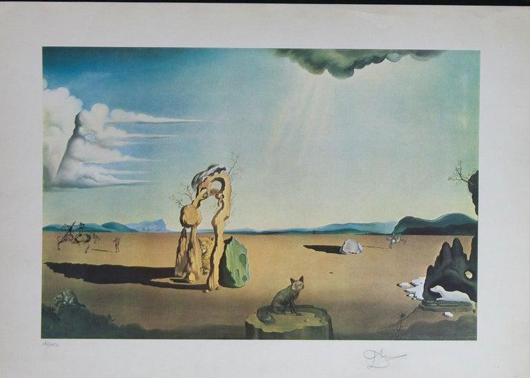 Salvador Dalí Landscape Print - Savage Beasts in the Desert / Little Animal Kingdom color lithograph by Salvador