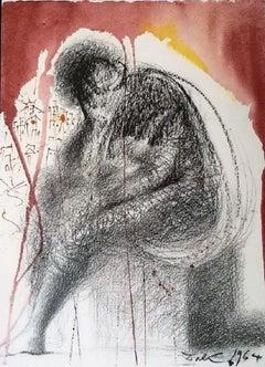 "Sedet Sola Civitas Plena Populo - Original Lithograph from ""Biblia Sacra"" - 1964"