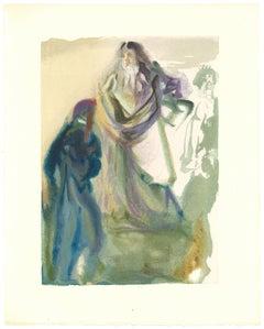 St. Peter and Dante - Original Woodcut by Salvador Dalì - 1963