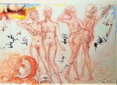 Stultae et prudentes filiae - Original Lithograph by Salvador Dalì - 1964