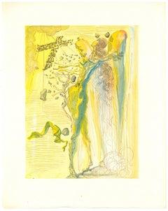 The Apparition of Dante's Grandfather - Original Woodcut by Salvador Dalì - 1963
