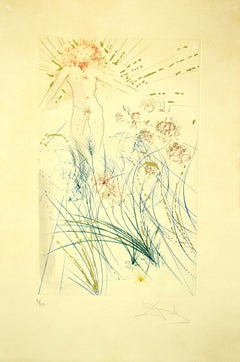 The Beloved Feeds between the Lilies - Original Etching by S. Dalì - 1971