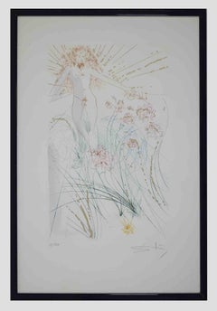 The Beloved Feeds between the Lilies - Original Etching by Salvador Dalì - 1971