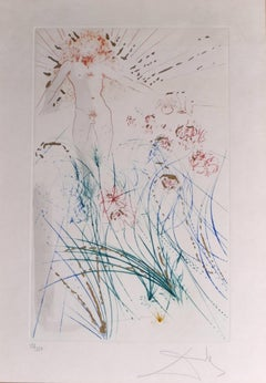 The Beloved Feeds between the Lilies - Original Lithograph by S. Dalì - 1971