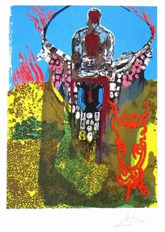 THE BULLFIGHTER(The Golden Calf) Signed Lithograph Surreal Portrait Tarot Card