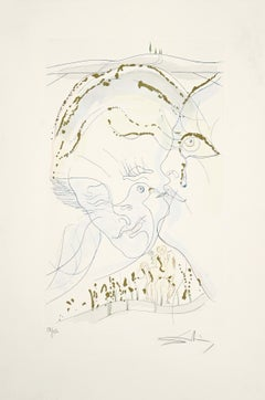 The Dove-like Eyes on the Bride - Original Etching by S. Dalì - 1971