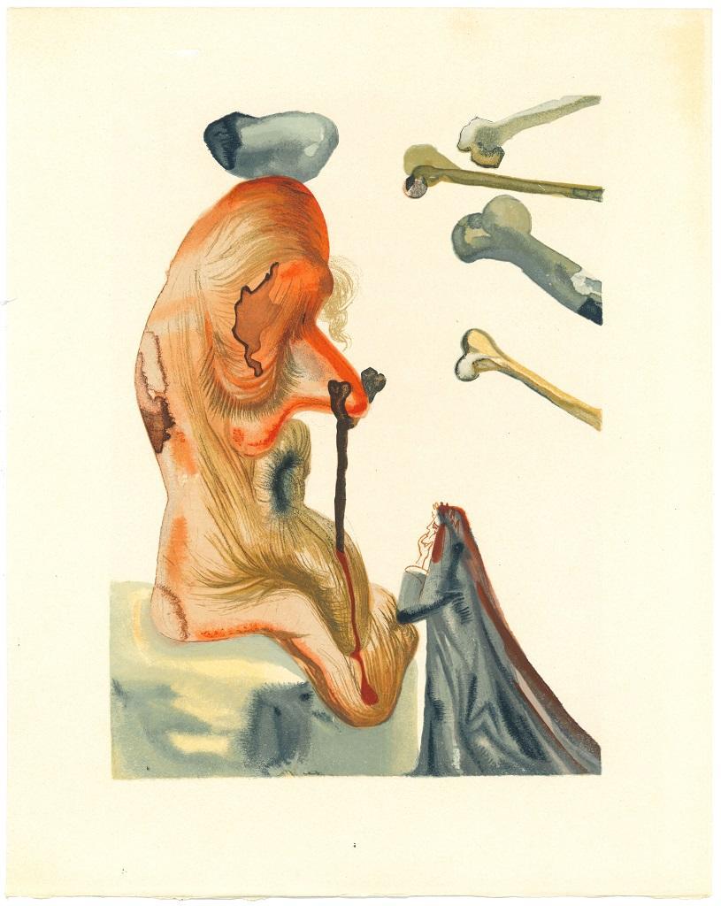 The Fraudulents - Woodcut Print after Salvador Dalì Original Watercolor - 1963