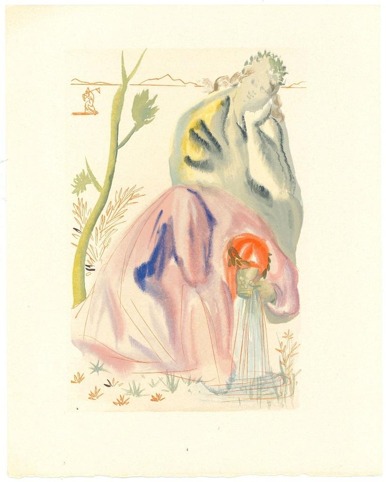 Salvador Dalí Figurative Print - The Golden Age - Original Woodcut Salvador Dalì - 1963