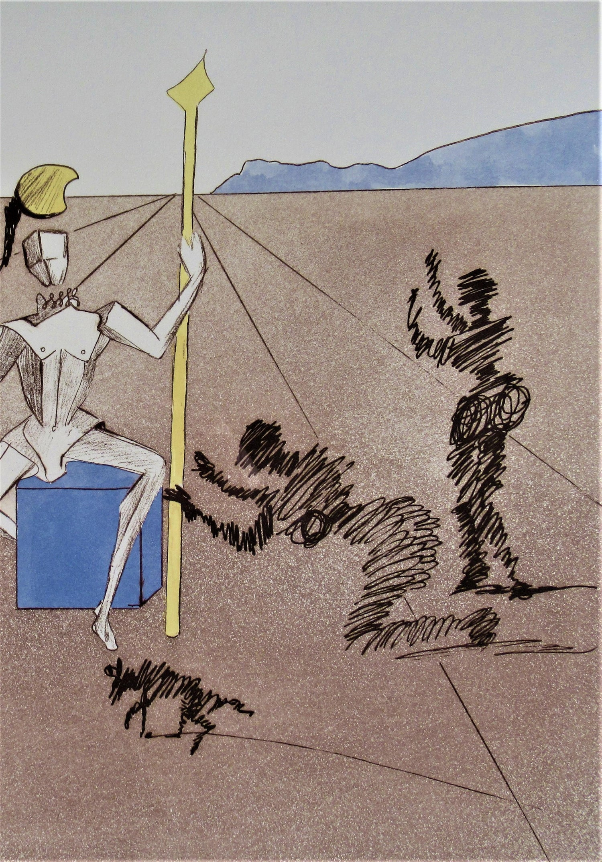 The Golden Helmet of Mandrino, from, Historia de Don Quichotte de la Mancha