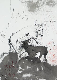 The Lion Eating Straw Like The Ox Biblia Sacra Salvador Dali lithograph