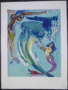 The Little Mermaid I - Original Lithograph by S. Dalì - 1966