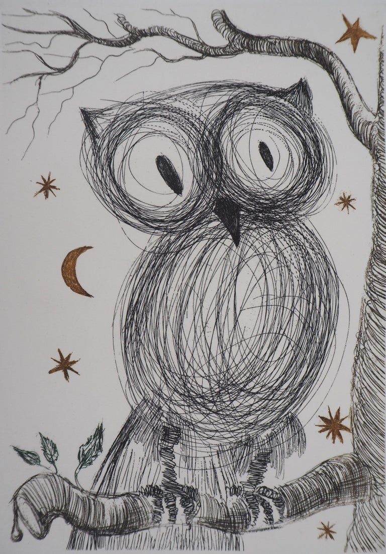 The Little Owl - Original handsigned etching, n° 1/95 (Field #68-9) - Surrealist Print by Salvador Dalí