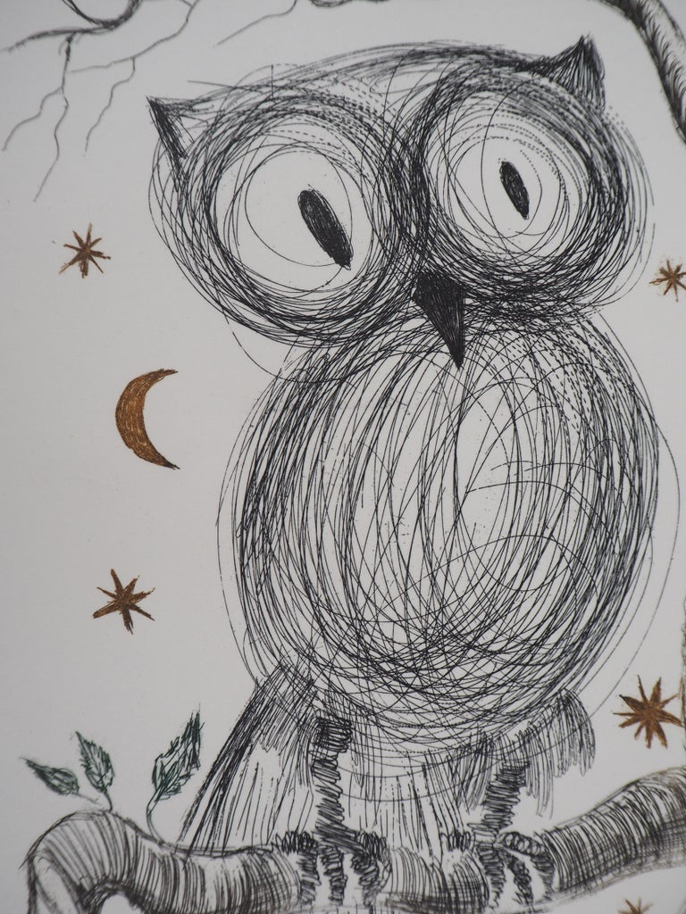 The Little Owl - Original handsigned etching, n° 1/95 (Field #68-9) - Gray Animal Print by Salvador Dalí