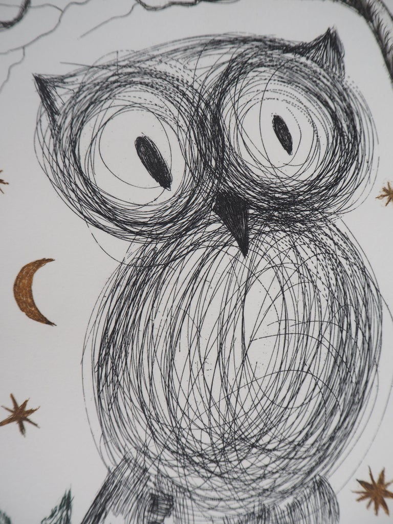 Salvador DALI The Little Owl (La petite chouette)  Original etching Handsigned in pencil Numbered 1/95 On Rives vellum 45.5 x 31.5 cm (c. 18 x 12.5 inch) Image size 17.5 x 12.5 cm (c. 7 x 5 inch)  REFERENCES :  - Catalog raisonne Field #68-9 -