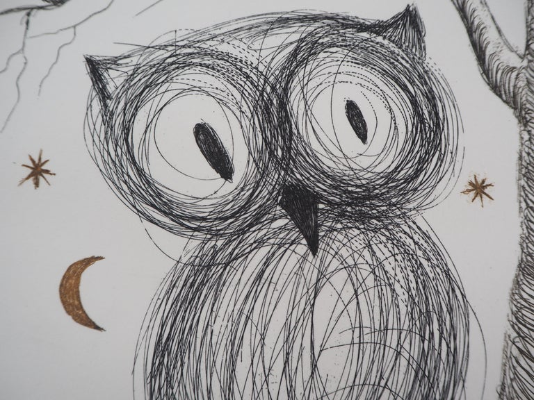 The Little Owl - Original handsigned etching, n° 1/95 (Field #68-9) For Sale 1