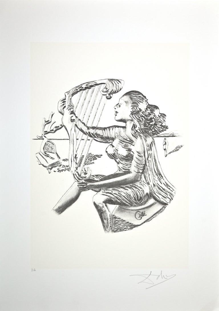 Salvador Dalí Figurative Print - The Music - Original Lithograph by Salvador Dalì - 1980