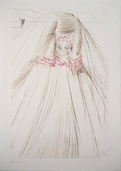 The queen with silk tunic - Original etching Handsigned (Field #70-10I)