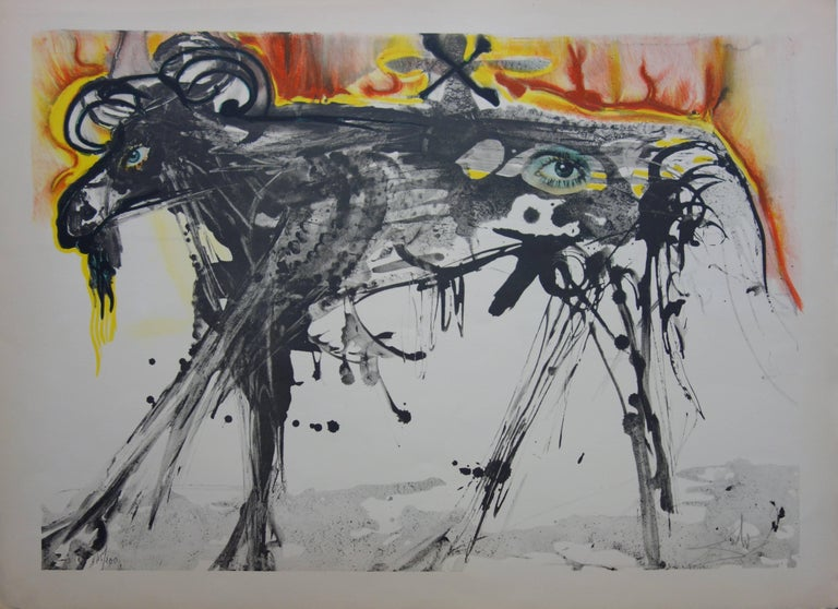 Salvador Dalí Figurative Print - The Ram (Homage to Gerrit Dou) - Original handsigned lithograph - 200 copies