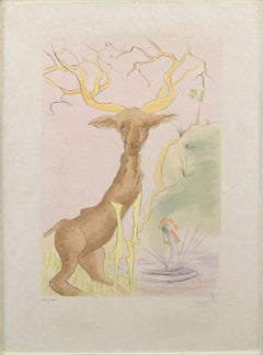 The Stag Reflected in the Water - Original Etching by S. Dali - 1974