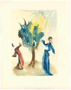 The Tree of Punishment - Original Woodcut Salvador Dalì - 1963