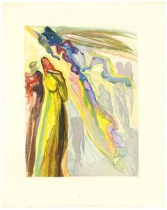 The Two Circles of Spirits - Original Woodcut by Salvador Dalì - 1963