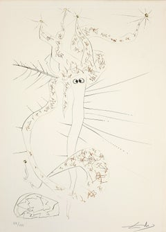 Tristan le Fou (Tristan the Mad) - Etching and Drypoint by S. Dalì - 1969