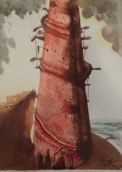 Turris Babel - Original Lithograph by S. Dalì - 1964