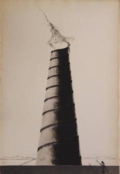 Zootrope et Tour Boullée - Original etching - 1973