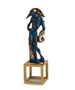 """Birdman"" limited edition bronze figurative table sculpture patina blue gold"