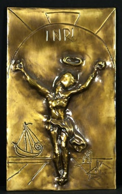 Christ of Saint John of the Cross Bas Relief Bronze Sculpture 1981 Salvador Dali