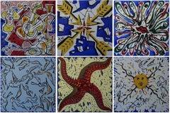 Complete set of 6 ceramic tiles designed by Dali - 1954