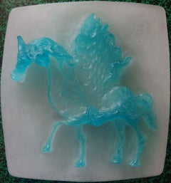 Horse, Pegasus - Pate de verre sculpture, Signed - Daum 1967