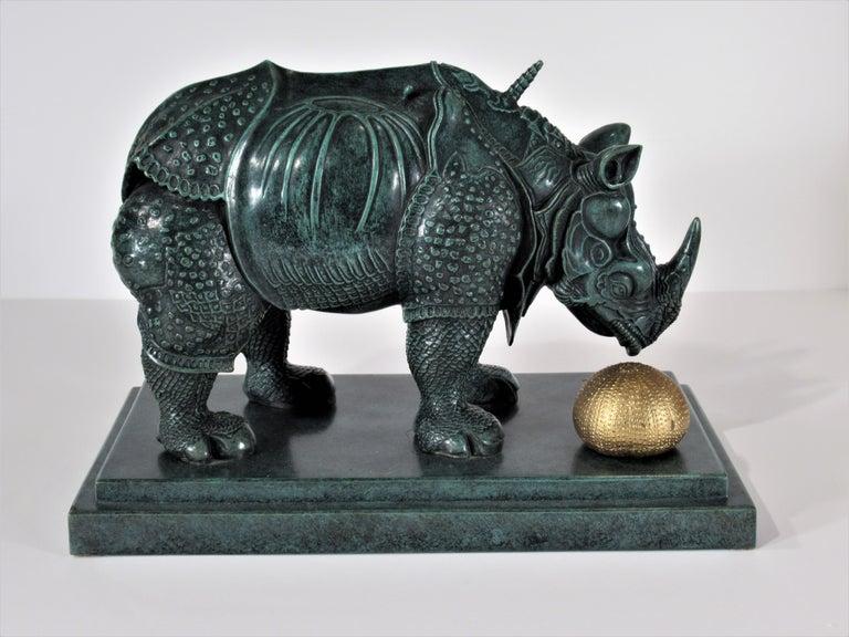 Rhinoceros Habille en Dentelles - Surrealist Sculpture by Salvador Dalí