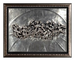 SALVADOR DALI Bronze Wall Relief SCULPTURE The Last Supper Signed SILVER Framed