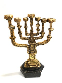 Salvador Dali -  Menorah - Bronze Guilded Sculpture