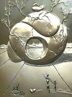 Salvador Dali - Universal Harmony - Bas Relief Silver Sculpture
