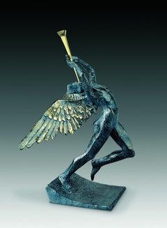 """Triumphant Angel"" limited edition bronze figurative table sculpture surrealism"