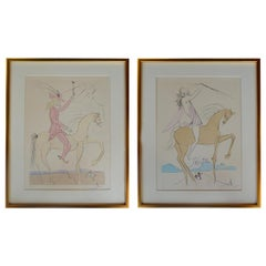 """Pair  Salvador Dali 'sp. 1904-1984' Two Etchings on Papers """"Amazon"""" & """"Cavalier"""
