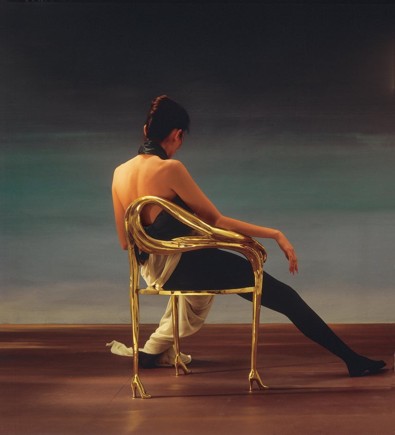 Spanish Salvador Dali Surrealist Leda Armchair Sculpture Black Label Limited Edition For Sale