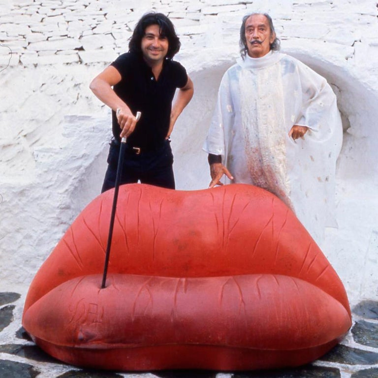 Salvador Dali Surrealist 'Salivasofa' Unique Prototype Red Lips Sofa For Sale 11