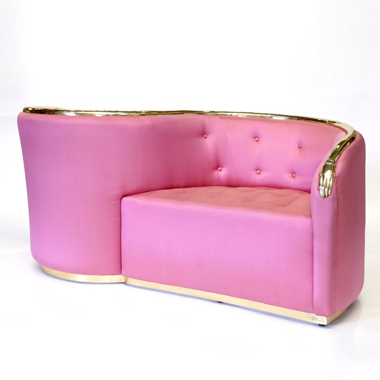 Metal Salvador Dali Surrealist 'Vis-à-vis De Gala' Pink Upholstered Sofa, nº 54 For Sale