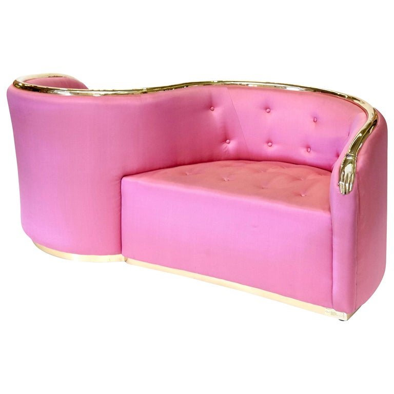 Salvador Dali Surrealist 'Vis-à-vis De Gala' Pink Upholstered Sofa, nº 54 For Sale