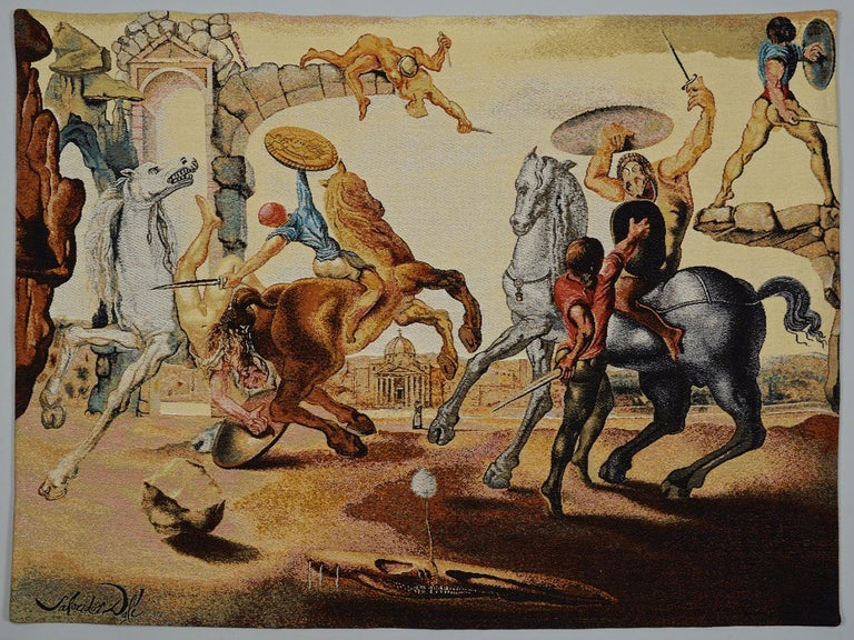 "Salvador Dali, 1904-1989 tapestry ""Battle Around A Dandelion"". Published in France by DEMART PRO ARTE 1988. #247 of 600. It is already framed and matted to 66 x 54 inches. A ""Certificate of Authenticity"" will accompany this work.